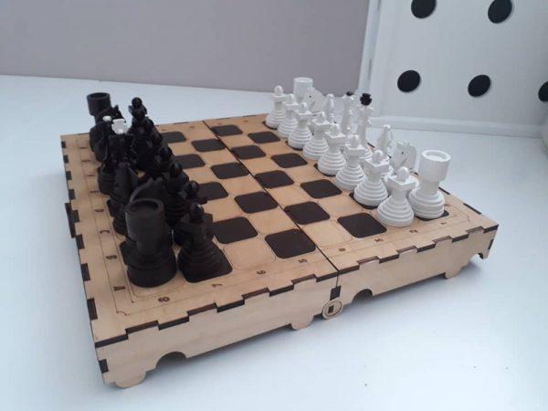 طرح برش لیزر شطرنج ام دی اف ، شطرنج چوبی ، صفحه شطرنج ، مهره های شطرنج